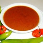 Habanero Sauce - A milder sweet-spicy habanero sauce, that can be made hotter by adding more habaneros.  It goes great on anything, especially as a salsa with tortilla chips.