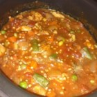 Colorful Slow Cooker Soup - You can get a tasty soup easily by slow-cooking ground beef, barley, canned tomatoes, and frozen mixed vegetables in prepared spaghetti sauce.
