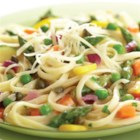 Pasta Primavera with Lemon-Caper Sauce - Colorful, crisp-tender veggies are tossed with linguine pasta and a creamy lemon-caper sauce and served with shredded Parmesan cheese.