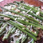 Asparagus Casserole I - Asparagus layered with almonds and mushroom soup and baked between cracker crumb and cheese crusts.
