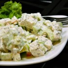 Deb's Chicken Salad - This chicken salad features tart, sharp, salty, and sweet flavors teamed with juicy and crunchy bits of cucumber and apple.