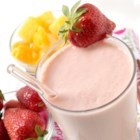 BFF Smoothie - This creamy strawberry and mango smoothie has a hint of mint added at the end of blending.