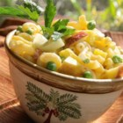 Cold Tropical Macaroni Salad - Apple, pineapple, peas, hard-cooked eggs and pasta in a creamy dressing.