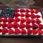 No-Bake Cheesecake Flag Cake  - This no-bake cheesecake has a light texture that's less dense than baked cheesecake. The filling stars cream cheese, rich mascarpone cheese, and fresh whipped cream, which you'll combine and spread over a homemade chocolate graham cracker crust. Make the stars and stripes with fresh strawberries and blueberries. It's so easy!