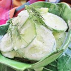 Mizeria (Polish Cucumber Salad) - Dill and lemon juice dress this cucumber salad with a small amount of sour cream.
