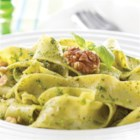 Basil Walnut Pesto - Fresh basil and parsley, garlic, and parmesan cheese make delicious classic pesto for an easy summer dinner.