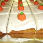 Pumpkin Bars I - This spiced pumpkin-nut snack cake is delicious topped with cream cheese frosting. It makes two 9x13-inch pans.