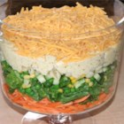 Spicy English Seven-Layer Salad - This seven-layer salad takes some inspiration from the salads they sell at Boots (pasta shells and julienned carrots) and some inspiration from my grandmother (curry powder and brown sugar).  This makes a really refreshing, flavorful salad that I simply love and that my friends request at barbeques!