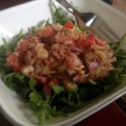 Tomato Mackerel Salad - Delish mackerel salad in a yummy fresh tomato and basil sauce and served on a bed of lettuce.