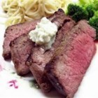 Kickin' London Broil with Bleu Cheese Butter - London broil is grilled with spices and topped with a rich bleu cheese butter for an extraordinary taste! This is my original recipe - I hope you like it!