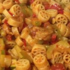 Hot Wheels Pasta - Wheel-shaped rotelle pasta, zucchini slices, and plenty of spicy and sweet pepper rings add fun to this colorful recipe.