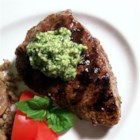 Lemon Basil Pesto Flat Iron Steak - Lemon and basil combine nicely into a pesto topping for steaks.