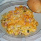 Hearty Ham Casserole - A great way to use leftover ham.  Baked cheesy potatoes with ham and corn.