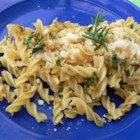 Garlic Pasta - Pasta with herbs, delicious sauteed garlic and plenty of Parmesan cheese.