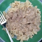 So Simple Beef Stroganoff - All you need are five basic pantry ingredients to make a comforting, creamy beef Stroganoff in your slow cooker.