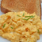 Sriracha Scrambled Eggs - This is an excellent, spicy, quick-and-easy breakfast item of eggs scrambled in butter with sriracha and half-and-half.