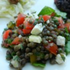 French Lentil Salad with Goat Cheese - French lentils (also called puy lentils) have a wonderful earthy flavor and are worth seeking out to make this recipe. They're tossed with snipped fresh herbs, a sherry vinaigrette, grape tomatoes, and crumbled goat cheese.