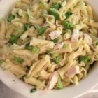 Steph's Summer Salad - Succulent chicken breast chunks and penne pasta tossed with broccoli and green onions.