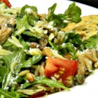 Chicken Florentine Salad with Orzo Pasta - Grilled chicken and orzo are tossed with spinach and a homemade balsamic vinaigrette creating a chicken Florentine as a salad.