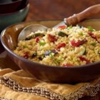 Couscous with Roasted Tuscan Inspired Vegetables - This hearty, vegetarian main dish couscous features a European-inspired vegetable blend of roasted potatoes, zucchini and eggplant.