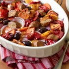 Italian Sausages with Roasted Sweet Potatoes and Sweet Peppers - This rosemary-scented rustic casserole with peppers, sweet potatoes and sweet or spicy vegetarian Italian sausage is the very essence of healthy comfort food.