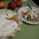 Georgia Peach Pie - My mom's summer dessert! So easy and fast to make. A vanilla meringue base with pecans is topped with sliced peaches and whipped cream. Make it early in the day; the longer the peaches sit on the crust the better!!!