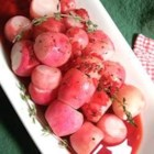 Radishes Simmered with Thyme - Radishes are quickly cooked with garlic, onion, and thyme in this interesting side dish.