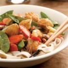 Lemon Chicken Stir-Fry - Spiked with lots of lemon, this delectable chicken stir-fry has a colorful mix of fiber-packed snow peas, carrots and scallions.