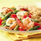 Lemon-Garlic Shrimp & Vegetables - Here's a healthy twist on shrimp scampi: we left out the butter and loaded the dish up with red peppers and asparagus to create an ample and satisfying portion.