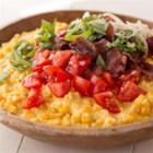 Tomato and Bacon Creamed Corn Casserole - Prep, cooking and cleanup is made super simple when you make this summertime side in your slow cooker.
