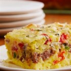Cheesy Sausage and Egg Bake - Not just for breakfast! Try it for supper too because you can make it up to 12 hours ahead of time.