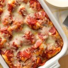 Impossibly Easy Pizza Bake - Craving pizza? Just add milk to Original Bisquick(TM) mix and you'll make quick work of a pizza bake that's in the oven in less than 20 minutes.