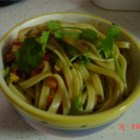 Chinese Cold Pasta Salad - Pasta is pasta, but the spicy peanut sauce is a knock out. Natural peanut butter is dolled up with soy sauce, crushed red pepper, veggie broth and garlic. Add a bit of scallion, bell pepper and cilantro - and toss.