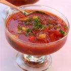 Easy Summer Gazpacho - An easy gazpacho recipe that begins with a jar of Classico(R) Tomato & Basil Sauce. The fresh taste of the sauce shines through with the addition of fresh cucumber, bell peppers, tomatoes, and basil. Customize the level of heat with the hot sauce--cold soup for hot weather!