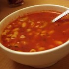 Easy Pasta Fagioli - White cannellini beans, ditalini pasta with vegetables, tomato sauce and herbs in a chicken broth.