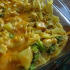 Chicken and Noodle Casserole - Bake up a comforting blend of chicken and vegetables in a flavorful sauce of cream of potato and cream of broccoli soups enriched with milk and a dash of dried thyme. Toss with tender egg noodles, cover with Colby cheese and finish in the oven.