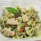 Pesto Pasta with Chicken - Easy and delicious bowtie pasta with chicken, sun-dried tomatoes and pesto sauce. Using homemade pesto will taste even better, but it adds to prep time.