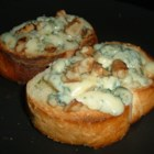 Blue Cheese Walnut Toasts - These little toasts can be served by themselves as appetizers or sometimes I like to serve them as croutons on salad.