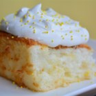 Pineapple Angel Food Cake I - This three-ingredient recipe is delicious and so very easy due to the use of a cake mix and canned pineapple, and whipped cream dessert topping.