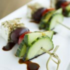 Greek Salad on a Stick - Impress your guests with this delicious and bite-size Greek salad on a stick featuring cucumber, tomato, olive, and feta cheese!