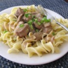 Slow Cooker Beef Stroganoff I - Beef, condensed golden mushroom soup, chopped onion, and Worcestershire sauce simmer in a slow cooker for easy beef stroganoff.