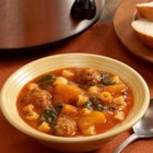 Slow Cooker Butternut Squash Soup with Sausage - Hearty slow cooker soup recipe full of butternut squash, Italian sausage, spinach and small pasta.