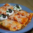 Easy Mashed Potato and Roasted Vegetable Enchiladas - This is the perfect comfort food for cold days.  To make it vegan, substitute non-dairy ingredients for dairy.  Leftover filling makes a great lunch!  If you want to make mashed potatoes from scratch, you will want at least 4 cups when you are through.