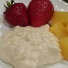 Marshmallow Creme Fruit Dip - Serve this delicious marshmallow creme fruit dip with strawberries, apples, or any of your favorite fruits!