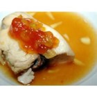 Baked Mango-Ginger Swordfish - Succulent swordfish is baked in a simple, delicate chutney marinade.