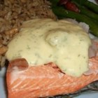 Quick Poached Salmon with Dill Mustard Sauce - A yogurt dill sauce is a cool, creamy counterpart to salmon poached in a delicate white wine and shallot broth.