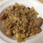 Farro Sausage Apple Skillet - Turkey sausage and farro make a delicious one-dish meal your whole family with enjoy.