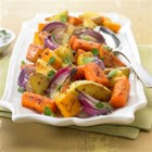 Napa Style Roasted Vegetables with Diamond Crystal(R) Sea Salt - Colorful veggies--carrots, butternut squash, sweet potatoes--and red onion and apples are roasted with fresh thyme, olive oil, and sea salt for a delicious side dish that will feed a crowd.