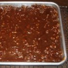 Texas Sheet Cake II - Rich, moist, easy chocolate cake to feed a crowd. Small serving is more than enough. Great for community dinners or large get togethers of any sort.