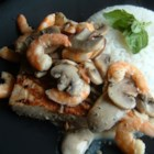 Cajun Ponchartrain Sauce - Serve this simple cream sauce, made with shrimp and mushrooms, over any grilled, blackened, steamed, pan fried fish. Great idea for a romantic candlelight dinner for two.